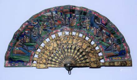ABANICO CHINO. Dieciséis brazos en madera laqueada color neg