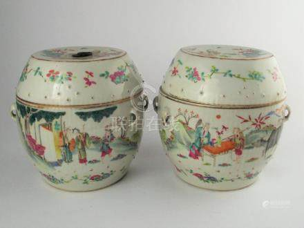 PAR DE POTES CHINOS CON TAPA. En porcelana Familia Rosa deco