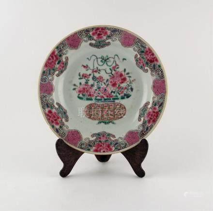 "PAR DE PLATOS CHINOS. En porcelana decorada ""flores"". Diámet"