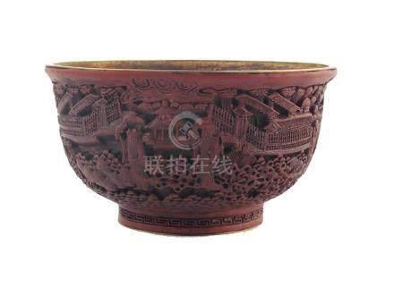 """BOWL CHINO. En hierro laqueado color marrón decorado """"paisaj"""