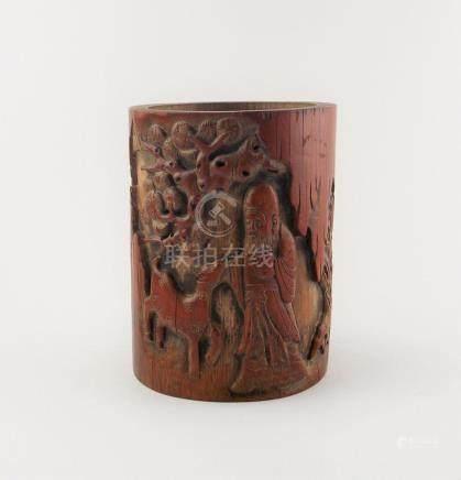 """PORTAPINCELES CHINO. En caña de bambú tallada """"monje y cabri"""