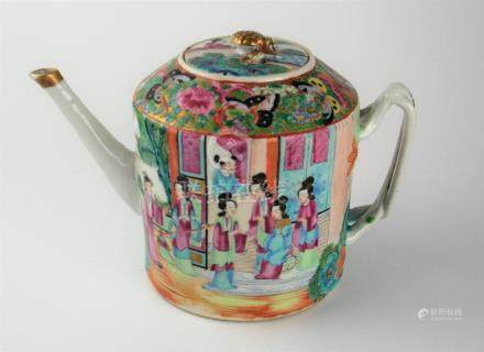 """TETERA CHINA. En porcelana Cantón antiguo pintada a mano """"es"""