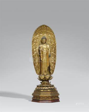 A gilt lacquer and wood figure of Amida Nyorai. 18th/19th century