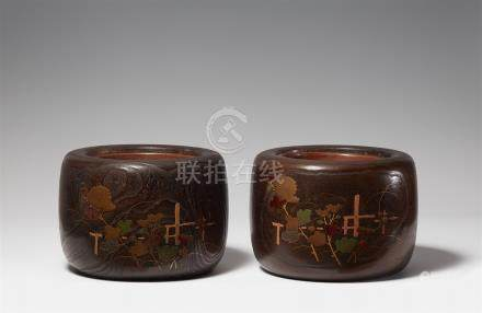 Two lacquerd kiri wood hibachi. Early 20th century