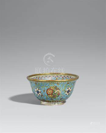 A Ming-style cloisonné enamel bowl. Mid-19th century