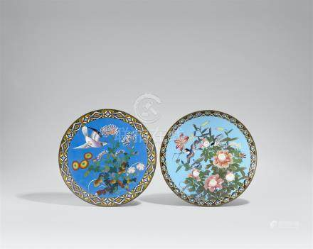 Two largel cloisonné enamel plates. Around 1880