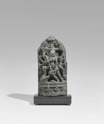 A Pala black chlorite stele of Durga Mahishasuramardini. Northeastern India. 11th/12th century
