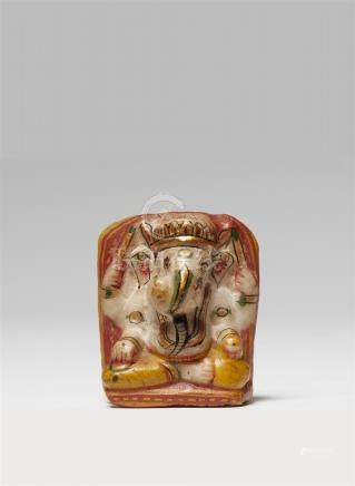 A small painted alabaster votive stele of Ganesha. 20th century