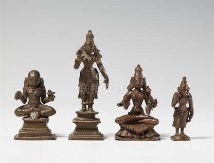 Four South Indian copper alloy figures. 17th/19th century