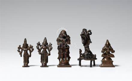 Five small mostly South Indian copper alloy figures of deities. 19th/20th century