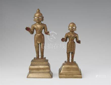A pair of Bengali brass deities. Eastern India. 19th century