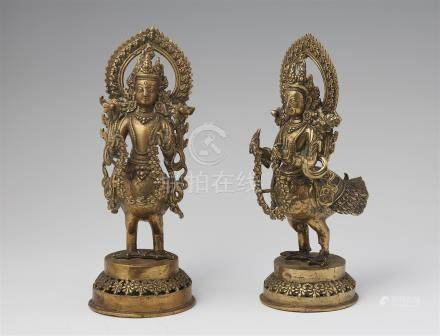 Two brass figures of Kinnara.19th/early 20th century