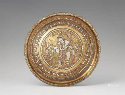A Thanjavur brass tray. 19th century