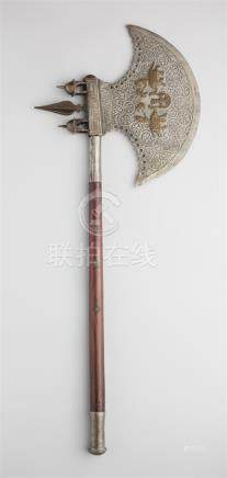 A Jaipur iron battle axe with a wooden shaft.19th century