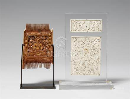 An ivory comb and two small plaques. 18th/19th century