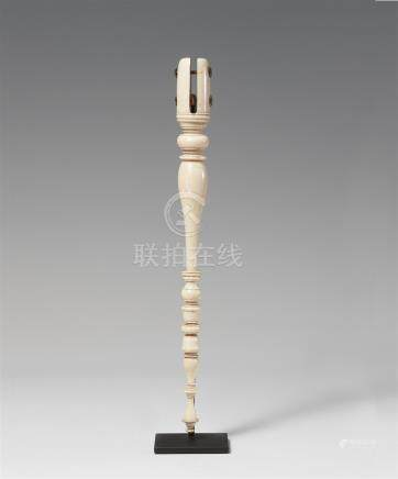 An ivory fan handle. Northern India. 19th century