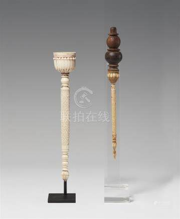 Two North Indian ivory flywhisk handles. 19th century