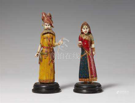 Two Rajasthani polychrome painted ivory figures of a noble couple. 20th century