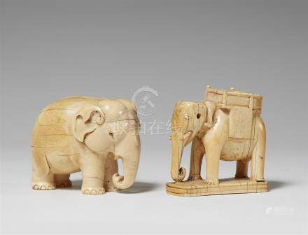 Two ivory models of elephants. 19th century