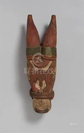 An Orissa polychromed wood ceremonial head of a bull. 20th century