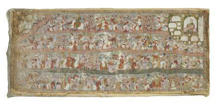 Cloth of a story teller (kavya). Pigments on fabric. 19th/early 20th century