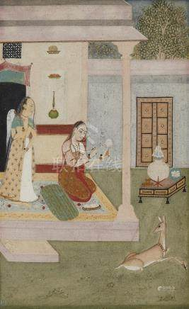 A Mughal style painting. 18th century