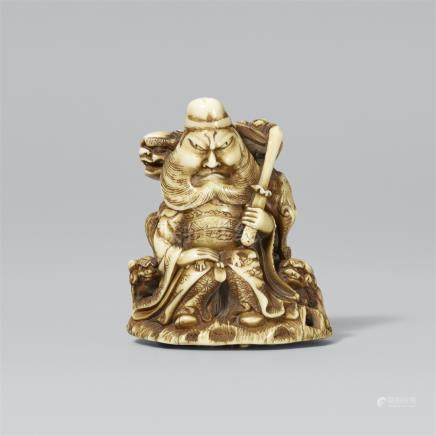 Shoki and a shishi. Ivory. Second half 19th century