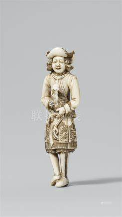 A Dutchman with a crane. Ivory. Early 19th century