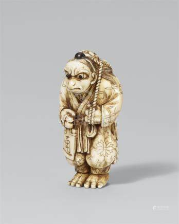 Karasu-Tengu with an octopus. Ivory