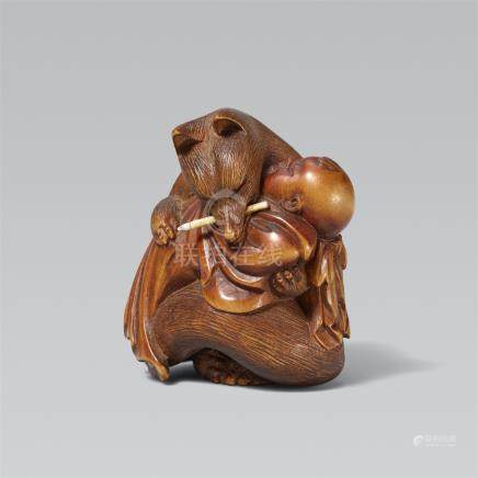 Kuzunoha with her child. Boxwood. 19th century