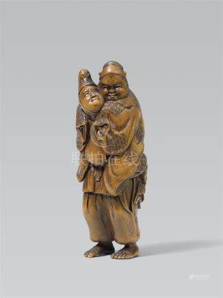 Daimyo carrying an okame. Boxwood