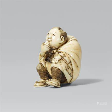 Boy with a sack. Ivory. Late 19th century