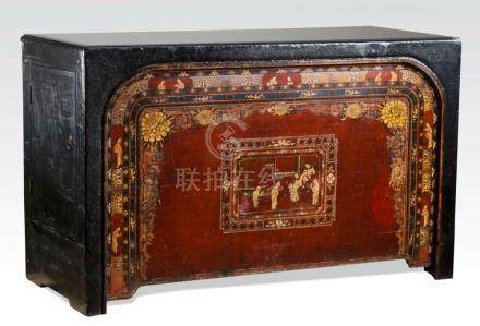 """Chinese carved and paint decorated chest, 70""""w"""