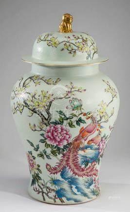 """Chinese famille rose ginger jar, Qianlong mark, 22""""h"""