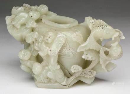 Carved white jade Chinese New Year vase