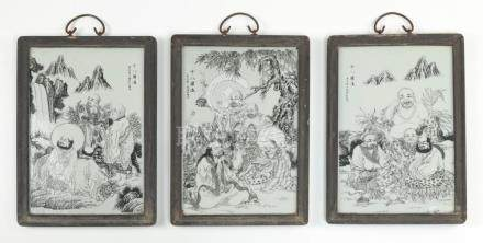 """Three Chinese porcelain plaques w/ louhan, 16""""h"""