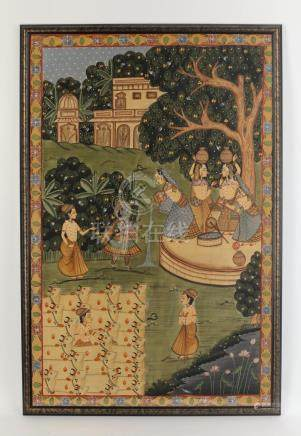 """Indian gouache on cloth depicting water bearers, 72""""h"""