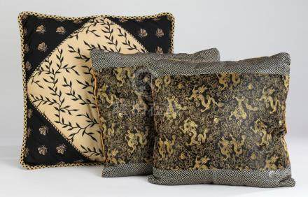 (3) Custom made Chinoiserie style accent pillows