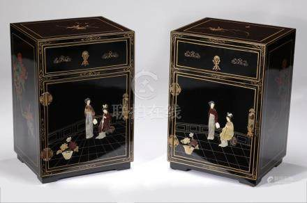 """(2) Petite Chinoiserie style lacquered chests, 23""""h"""