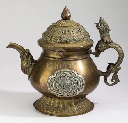"""19th c Tibetan copper & silver tea vessel, 12""""h"""