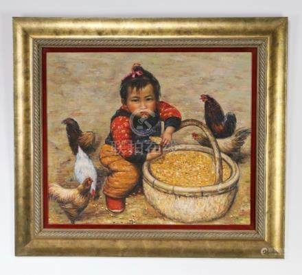 Contemporary Chinese O/c of little girl w/ chickens