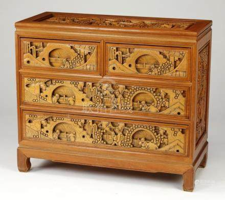 Chinese inspired chest w/ relief carved scenes