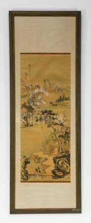 """Chinese hand painted riverscape scroll, 59""""l"""