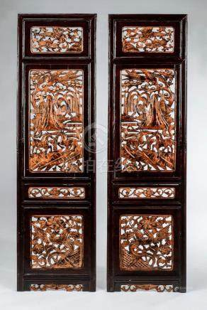 """(2) Carved Asian architectural panels 56""""h"""