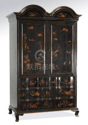 """Chinoiserie inspired double bonnet armoire, 86""""h"""