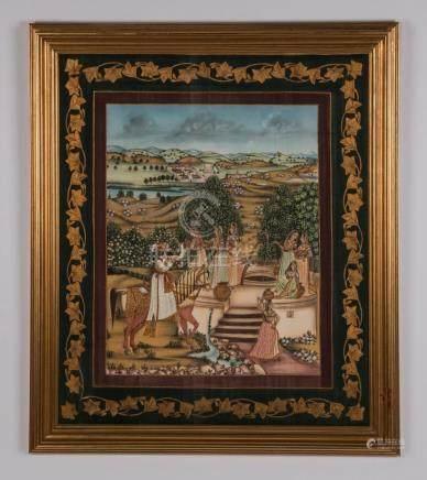 North Indian gouache on cloth, village scene, framed