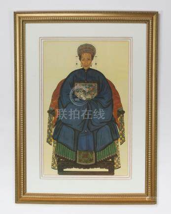 """Chinese portrait of an Ancester in gilded frame, 55""""h"""