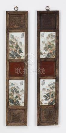 """(2) Chinese panels w/ porcelain plaques, 34""""h"""
