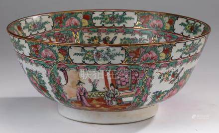 "Chinese Rose Medallion center bowl, 14""w"