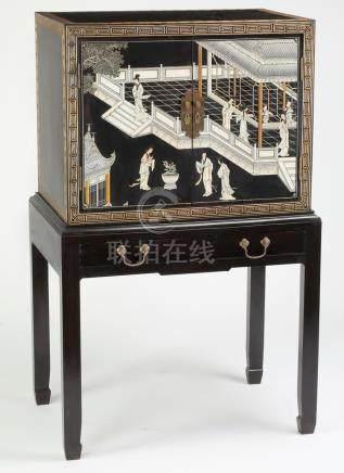 Chinoiserie style ebonized coromandel cabinet